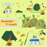 De zomertoerisme De reeks van de Colorfullreis Stock Afbeelding