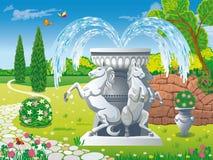De zomertuin met een mooie fontein met beeldhouwwerken van paarden stock illustratie