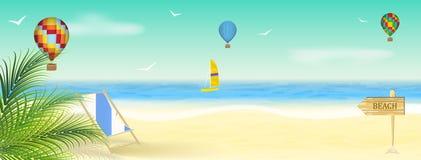 De zomervakantie bij de kust, behang Stock Afbeeldingen