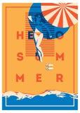 De zomervakantie en de affiche van het de Zomerkamp royalty-vrije illustratie