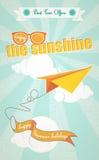 De zomervakantie en origamivliegtuig Stock Afbeelding