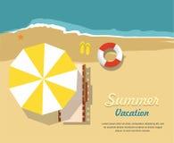 De zomervakantie en toerisme Chaise zitkamer en paraplu op strand Infographic pictogram vector illustratie