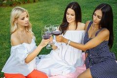 De zomervakantie en vakantie - meisjes met glazen rode wijn in openlucht royalty-vrije stock foto
