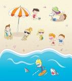 De zomervakantie op het zonnige strand stock illustratie