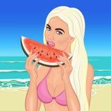 De zomervakantie op de oceanic eilanden Meisje op het strand vector illustratie