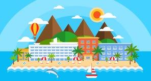 De zomervakantie op overzeese banner Helder het eilandlandschap van de reiszomer in vlakke stijl Strandeiland met bergen, hotels vector illustratie
