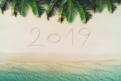 De zomervakantie 2019 op tropisch eiland Palmen en overzeese golven royalty-vrije stock foto's
