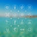 De zomervakantie, vakantie en reistekens en symbolen Stock Fotografie