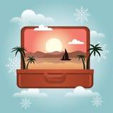 De zomervakantie in de winter De vakantie van de planningswinter Open koffer met een tropisch binnen eiland Het reizen en toerism royalty-vrije illustratie