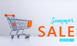 """De zomerverkoop: Boodschappenwagentje en """"Summer Verkoop†""""Winkel now†het van letters voorzien  royalty-vrije stock fotografie"""