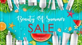 De zomerverkoop met schoonheid en schoonheidsmiddelenachtergrond stock illustratie