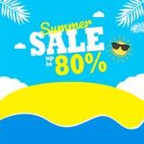 De zomerverkoop tot 80% achtergrond zon & wolkensamenstelling stock illustratie