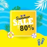 De zomerverkoop tot 80% banner Laat ` s op het strand zonnebaden stock afbeelding