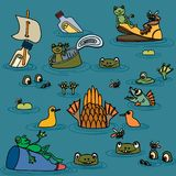 De zomervijver met kikkers, vissen en bloemen royalty-vrije illustratie