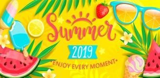 De zomervlieger met de zomersymbolen royalty-vrije illustratie