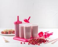 De zomervoedsel: kokend eigengemaakt fruitijs Het vullen van de voorbereide massa in roomijsvormen Stock Foto's