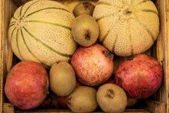 De zomervruchten in doos Zonnige de zomerdag Gezonde voedselfoto royalty-vrije stock foto