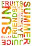 De zomervruchten Typografie Grafisch Ontwerp Royalty-vrije Stock Afbeeldingen