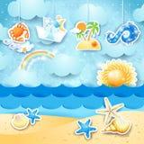 De zomerzeegezicht met het hangen van elementen Stock Fotografie