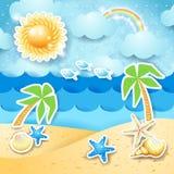De zomerzeegezicht met palmen en shells Stock Afbeelding