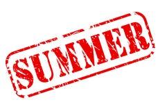 De zomerzegel met rode teksten op wit Stock Afbeelding