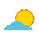 De zomerzon met wolk geïsoleerd pictogram Royalty-vrije Stock Afbeeldingen
