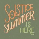De zomerzonnestilstand het van letters voorzien Stock Afbeelding