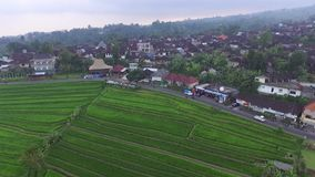 De zomerzonsondergang in dorp op het eiland van Bali stock videobeelden