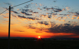 De zomerzonsondergang in Sicilië Stock Foto's