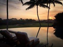De zon achter gesilhouetteerde palmen plaatsen en de bezinningen die over oneindigheid voegen en golfcursus in Hawaï samen royalty-vrije stock afbeelding