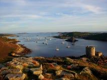 De zon daalt op de Eilanden van Scilly Royalty-vrije Stock Foto
