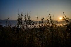De zon die op Berglandschap glanzen Stock Foto's