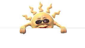 De zon die van het beeldverhaal groot wit teken houdt Royalty-vrije Stock Fotografie