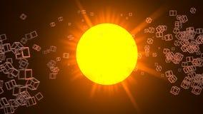 De zon of een ster door velen klein kubiek netwerk wordt omringd dat hebben bezwaar Driedimensionele roosterillustratie royalty-vrije illustratie