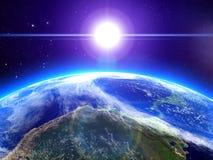 De zon en de aarde in ruimte Stock Afbeelding