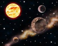 De zon en de planeten in diepe ruimtescène met gloeiende sterren en nevel betrekken het hemelontwerp illustratie van de achtergro Royalty-vrije Stock Afbeeldingen