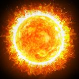 De zon en de sterren sluiten omhoog De zonnegloed is een plotselinge flits van verhoogde helderheid op de Zon stock foto's