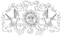 De zon en twee vogels Stock Afbeeldingen