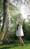 De zon glanst meisje Stock Foto