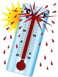 De zon leidt tot op hoge temperatuur wanneer de thermometer explodeert Stock Foto's