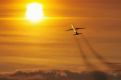 In de Zon (Lijnvliegtuig) stock fotografie