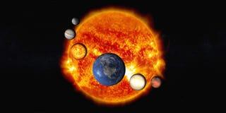 De zon met Zonnestelselplaneten stock fotografie