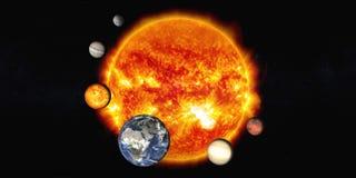 De zon met Zonnestelselplaneten stock foto
