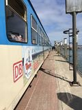 De zon overzeese van het Wangeroogestrand Trein Royalty-vrije Stock Foto