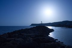 De zon plaatst Blauw Royalty-vrije Stock Foto