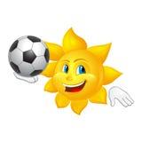 De zon speelt voetbal op witte achtergrond wordt geïsoleerd die Royalty-vrije Stock Afbeeldingen
