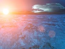 De zon van de hemel betrekt overzees royalty-vrije stock foto