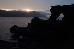 De zon van de Nordkappmiddernacht Stock Foto's
