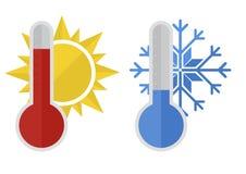 De zon van de thermometersneeuw Stock Fotografie