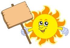 De Zon van de zomer met houten lijst Royalty-vrije Stock Afbeeldingen